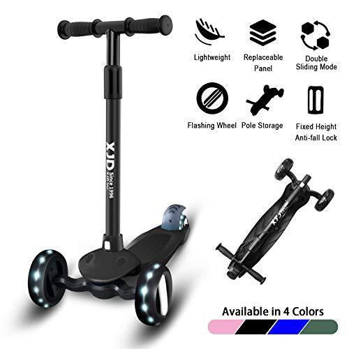 XJD Kinderroller 3 Räder Kinderscooter Kinder Roller für Kleinkinder 2-8 Jahren Höchenverstellbar Sperrbare Richtung mit Licht Leicht Belastbarkeit bis 50 kg