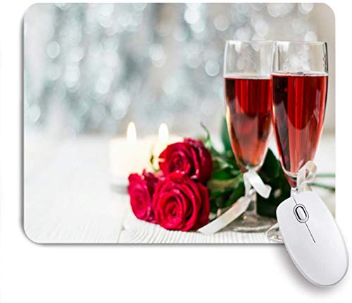 Benutzerdefiniertes Büro Mauspad,Flasche Red Day Romantisches Stillleben Rosa Champagner Event Essen Trinken Valentinstag Wein Toast,Anti-Slip Rubber Base Gaming Mouse Pad Mat