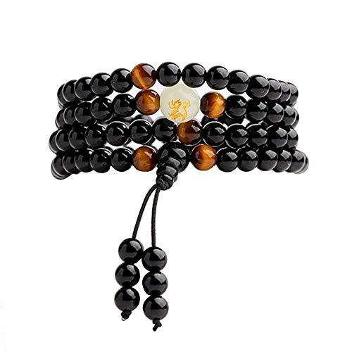 Tikkii Obsidian-Armband, 108 Perlen, Drachen-Muster, leuchtende Therapie, Geschenk, 76,2 cm