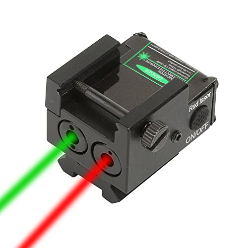 Dual Beam Aiming Tactical Compact Rail Laser Sight XYH06 Green & Red Laser USB Rechargeable Picatinny Rail Mount Low Profile for Pistols Handguns