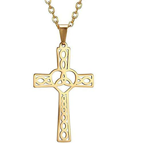 Stainless Steel Celtic Infinity Knot Christian Cross Religious Pendant Necklace (Gold)