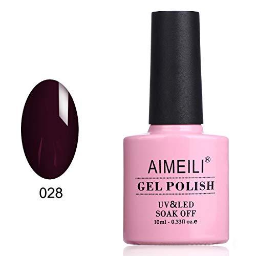 AIMEILI Smalto Semipermente Unghie in Gel UV LED Smalti per Unghie Colori per Manicure Soak Off - Burgundy Brown (028) 10ml
