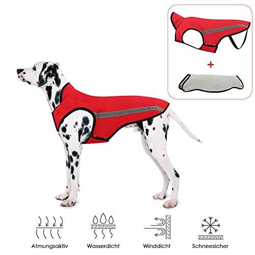SlowTon Hunde Winterjacke, Hundemantel Einstellbare Hals und Brustgröße Haustier Weste mit Reflektierenden Streifen Wasserdicht Hundepullover Schneeanzug
