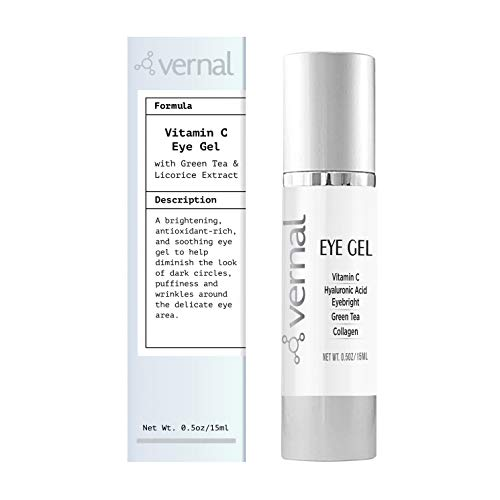 Vernal Eye Gel Treatment- Antioxidant Rich- Vitamins C and K, Glycerin, Cucumber, Eyebright, Collagen, and Green Tea – Diminish Dark Circles, Puffiness and Wrinkles- Best Under Eye Cream-Brighter Eyes
