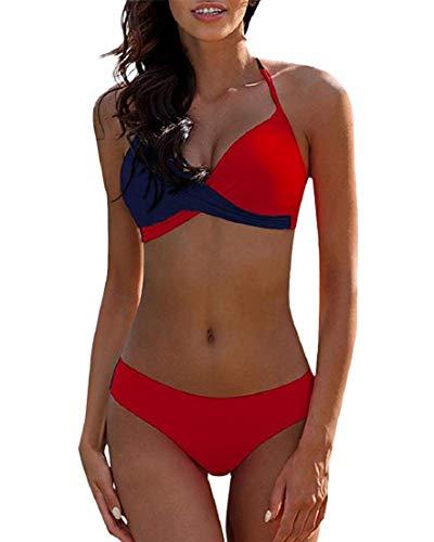Voqeen Traje De Baño Mujer Sexy Bañador de Baño Cuello Halter Conjunto de Bikini Push up Sujetador Acolchado Traje de baño Bikini para Mujeres (B, M)