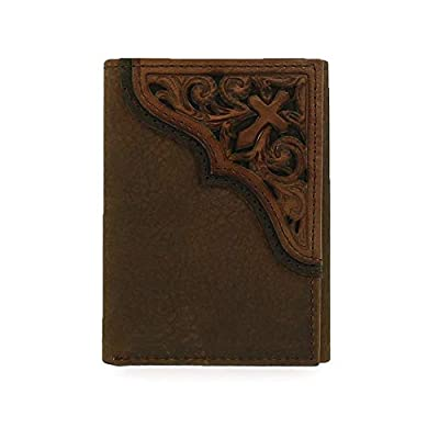 Ariat Men's Cross Corner Inlay Trifold Western Wallet, Brown, One Size