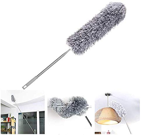 Loteaf Feather Duster for Home with Telescoping Handle, Extra Long 100'', with Heavy Duty Pole and Bendable Head Microfiber Dusters for Cleaning Roof, Ceiling Fan&Cobweb Duster