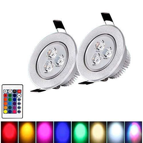 JLXW Led-inbouwspot, 3 W, 7 kleurwisselende kleuren, plafondlamp met afstandsbediening, dimbare inbouwlamp voor woonkamer, verjaardag