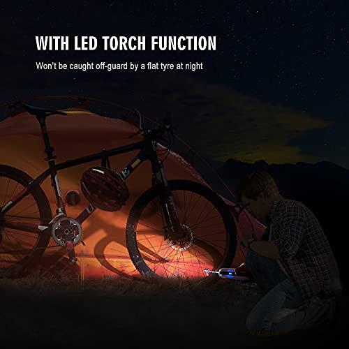 CYCPLUS Luftpumpe I50PSI Elektrischer Kompressor Tragbar Fahrradpumpe Mini Reifenpumpe mit Digital LCD LED Licht Wiederaufladbarer Li-ionen 12V für alle Fahrräder als Taschenlampe und Powerbank - 4