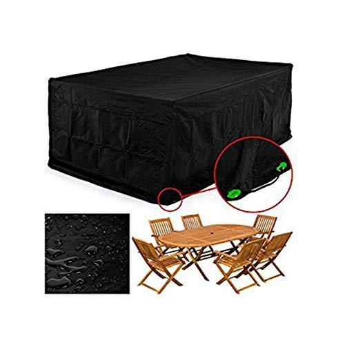 NINGWXQ Garden Furniture Cover waterdichte ademende Oxford Doek Outdoor Patio Furniture Cover Rectangle Courtyard Set verschillende maten (Color : Black, Size : 2x1x2m)