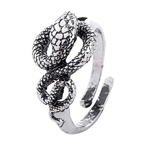 EzzySo Anillo de Giro en Forma de Serpiente, Estadounidense Dominio de la Personalidad Retro Pareja de Anillo de Anillo Abierto (2 Piezas)
