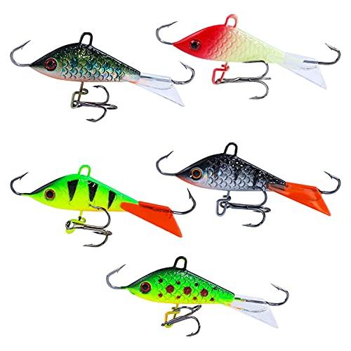 Señuelos De Pesca, Hielo Rotativo De Hielo De La Pesca De Cebo De Cebos Jigging Kit De Señuelos Artificiales con Gancho Afilado 5pcs