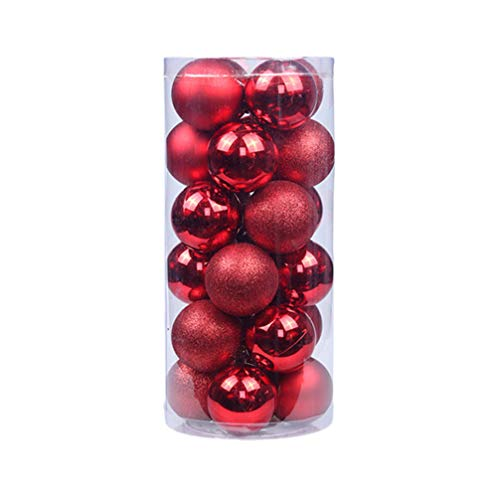 VOSAREA 24pcs Ornamenti per Palle di Natale infrangibili infrangibili Lucidi Glitter Ornamenti per Palle Decorazioni per Appendere L'Albero di Natale (Rosso)