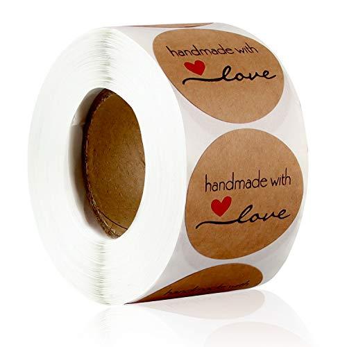 Pegatinas Kraft Etiqueta Adhesiva, 3.8cm'Handmade with love' Redondas Etiqueta Autoadhesiva Hechas a Mano Etiquetas Rollo...