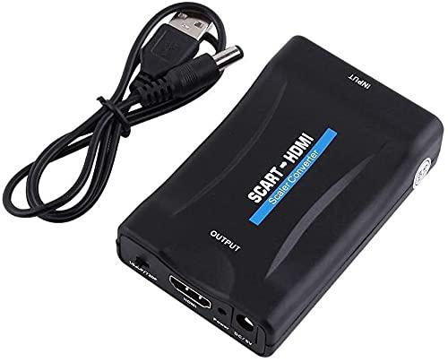 TFR Convertitore da SCART a HDMI Adattatore, converte l'ingresso scart analogico in uscita HDMI 720P / 1080p (60Hz), per proiettore monitor HDTV STB VHS Xbox PS3 Sky Blu-ray DVD Player