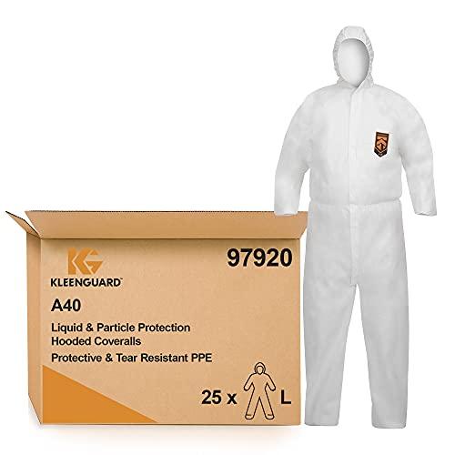 KleenGuard A40 Schutzanzug mit Kapuze zum Schutz gegen Flüssigkeiten und Partikel, Schützende und reißfeste PSA, SFL-Material, 25er-Pack, Größe: L, Farbe: Weiß, Artikel Nr. 09792007