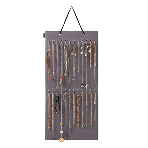 KGMcare Wall Hanging Jewelry Organizer Storage with 24 Hook Wall Mounted Jewelry Display Hanging on Door Closet Necklace Holder for Bracelet Ring Chain