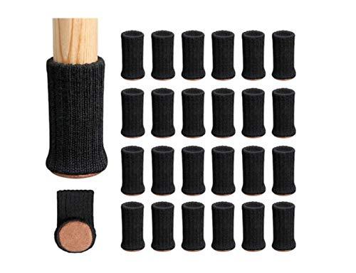Zhi Zhi Almohadillas de Muebles Protectores de Piso elásticos Altos Silla Antideslizante Pie de Pierna Calcetines Cubiertas Conjunto de Tapas de Muebles (Color : Negro)