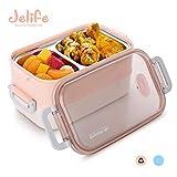 Jelife Bento Box Lunchbox mit Edelstahlsbehälter Brotdose mit 3 Unterteilungen für Schule Arbeit...