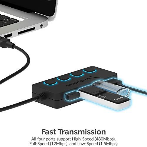 Sabrent USB HUB - 4-Port USB 2.0 Hub mit einzelnen Schalter und einzelnen LEDs (HB-UMLS)