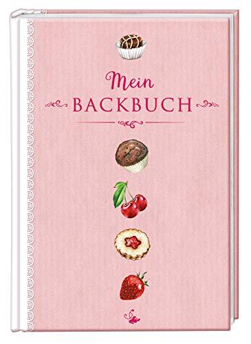Mein Backbuch, Rezeptbuch Kochbuch, DIN A4 Hardcover zum selberschreiben, rosa weiß Spitzen Optik Erdbeere Muffin Praline Weihnachtsplätzchen, liniert, Inhaltsverzeichnis und Seitennummerierung