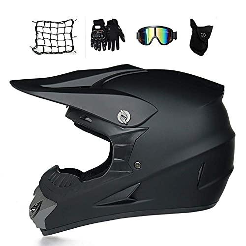 HYRGLIZI Motocicleta para Adultos Quad Casco de Motocross para Hombre con Gafas, máscara, Guantes, Red de Casco, Casco de MTB de Cara Completa, Casco Todoterreno, Cuesta Abajo, Enduro Dirt MX, Motor