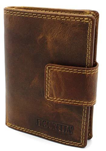 Figuretta Echtes Premium-Leder-Kreditkartenetui mit Banknoten- und Münzfach - RFID-Kartenschutz - Slim Wallet - Anti-Skim-Schutz - Hunter Braun