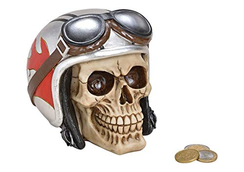 wunderschöne große hochwertige Spardose,Sparbüchse,Sparschwein Totenkopf mit Motorradhelm und Brille