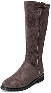 Yolanda Zula Women's Flat Knight Booties Double Zipper Cushioned Lining Winter Boots