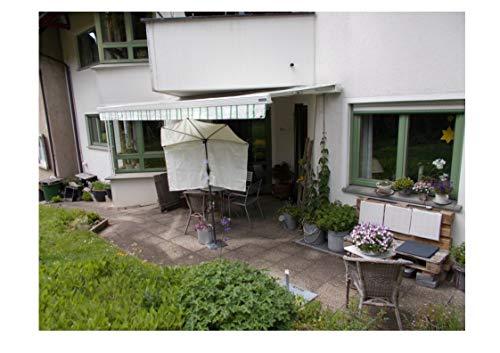 holly's Kleiner Balkon - FÄCHER Natur zur MARKISEN-ERGÄNZUNG mit kostenlosen Test Volant + Schirmstab + Ständer für Schirmstäbe bis 30 mm Ø - Made in Baden Württemberg -