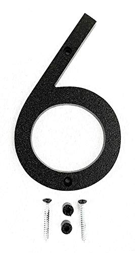 Gohomenumbers House Numbers 5 inch, w/Easy to Install Hardware, Large Black Modern House Number (5' Tall), Install as Floating House Numbers or Flush Mount Plastic Address Numbers (6)