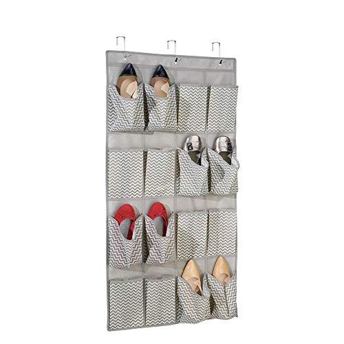 mDesign – Organizador de zapatos para armario con 16 bolsillos – Organizador de tela para colgar – Colgador de armario para calzado, cinturones y accesorios – Color gris pardo