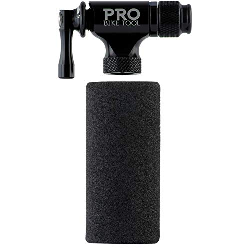 PRO BIKE TOOL CO2 Inflator Quick & Easy - Presta & Schrader Valve Compatible - Bicycle Tyre Pump For Road & Mountain Bikes - Insulated Sleeve - No CO2 Cartridges Included