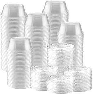 100-Pack of 2 Ounce Clear Plastic Jello Shot Cup Containers with Snap on Leak-Proof Lids -Jello Shooter Shot Cups -Compact...