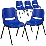Flash Furniture 5 Pack HERCULES Series 661 lb. Capacity Navy Ergonomic Shell Stack Chair with Black Frame and 16'' Seat Height
