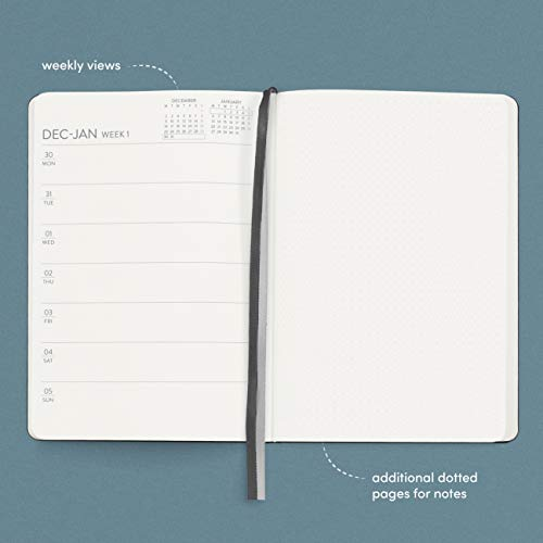 Product Image 4: Planner 2021 Hardcover with Weekly and Monthly Plan, 12 months, 5.7 x 8 in, BLACK- with vegan leather cover, elastic closure, 2 bookmarks, dotted notes pages- January through December 2021