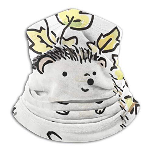Ezreall Fleece-Nackenwärmer, multifunktionaler Schal 'Good Picture Hedgehog Autumn Fallen Leaves' und Vollmaske oder Hut, Nackenschutz, Nackenkappe, Skimaske, halb