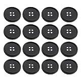 EXCEART Bottoni da 100 Pezzi Bottone Tondo in Resina Bottoni Piatti Neri da Cucire a 4 Fori per Sostituzione Bottoni Fai da Te Diametro 15Mm