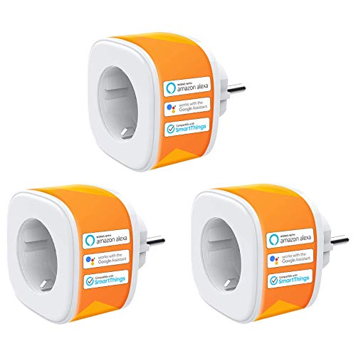 Presa WiFi Intelligente Smart Plug 16A Funzione Timer Compatibile con Alexa, Google Home, Controllo Remoto App iOS Android, 3 Pezzi Refoss