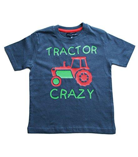 """Maglietta da bambino con scritta in inglese """"Tractor crazy"""", colore blu navy slavato, con stampa verde e rossa Navy 7-8 Anni"""