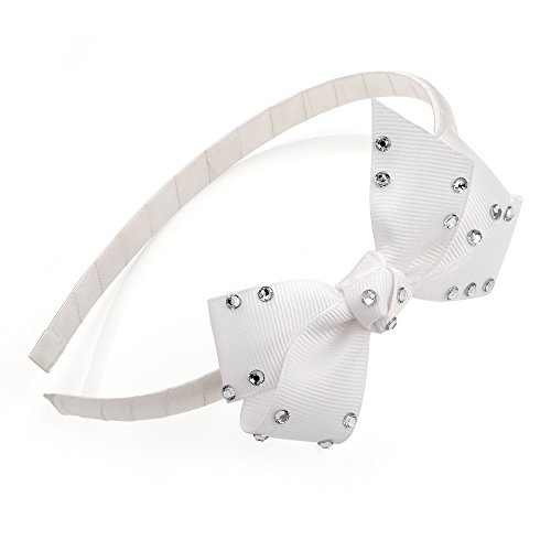 Girls White and Crystal Look 8.5cm Bow On Fabric Alice Band