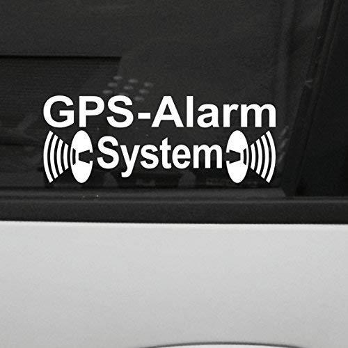 GreenIT 2 Stück weiß GPS Alarm System Aufkleber die Cut Auto Fenster Tattoo Folie gespiegelt innenklebend