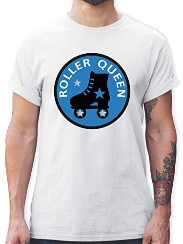 Vintage - Roller Queen Rollschuh - 3XL - Weiß - L190 - Tshirt Herren und Männer T-Shirts