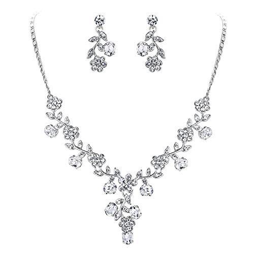 EVER FAITH Gli Orecchini Collana di Cerimonia Nuziale della Vite del Foglio Set Cristallo Austriaco Silver-Tone N03848-1