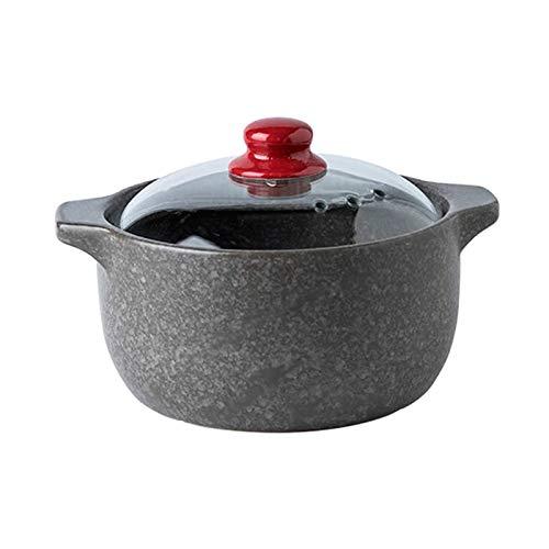 Bdesign Casserole de la cazuela de la Sopa del hogar Plato de cazuela de Piedra con Tapa de Vidrio, cazuela de cerámica Redonda, calefacción de calefacción Lento Olla de estofado 2.7L