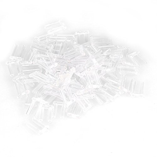 Randloze glazen accessoires, 100 stuks nieuwe heldere plastic compressiehulzen voor randloze glazen, die accessoires repareren 1,4 x 0,8 x 7,0 mm.