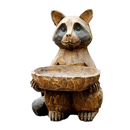 SDBRKYH Jardinière Sculpture Garden, Raccoon Sculpture Pot de Fleurs modèle Animal extérieur Pelouse Aménagement paysager Résine Rétro-Pot