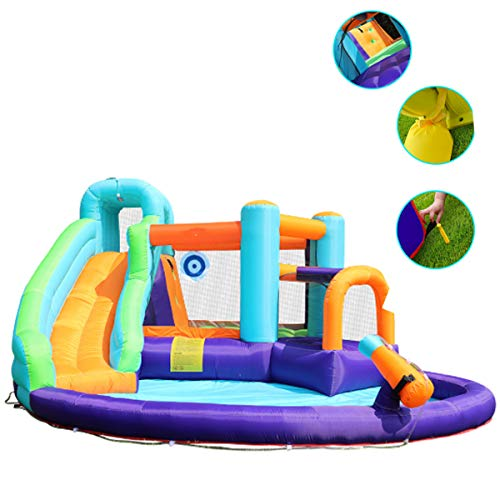 Opblaasbare Bouncy Water Castle, Balloon Trampoline Met Elektrische Pomp House Water Pool Slide Activity Center Met Glijbaan, Klimwand En Een Waterpistool Voor Kinderen
