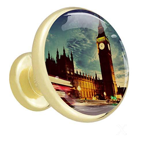 Dorado Perillas Redondas Reloj Big Ben de Londres Hecho a Mano perilla del gabinete para los cajones del tocador de la habitación infantil (con Tornillos) 32mm