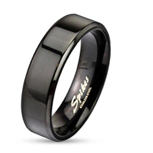 Paula & Fritz® ring van roestvrij staal chirurgisch staal 316L zwart Flat Band Edge 6mm breed beschikbare ringmaten 47 (15) - 69 (22) R083-6